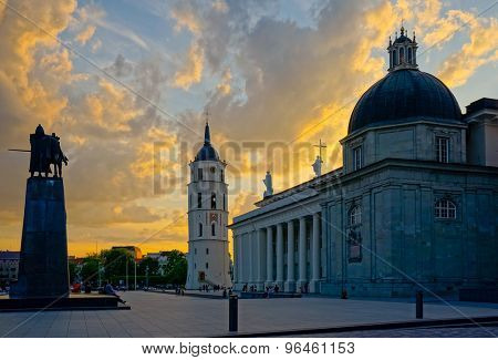 Vilnius cathedral square at evening, Lithuania