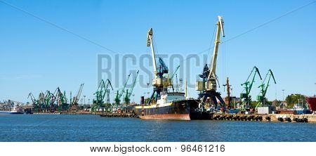 Cranes in the Klaipeda industrial port