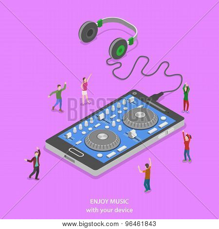 Enjoy music isometric flat vector concept.