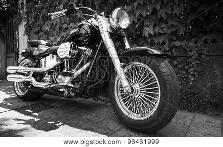 Black Harley Davidson Motorcycle With Chrome