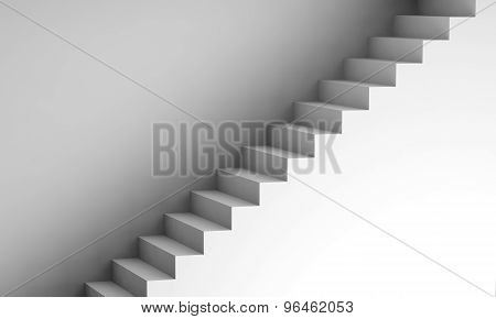 White Stairway On The Wall, 3D Interior Background