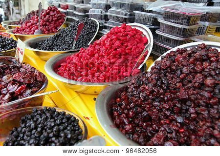 Traditionally Dried And Processed Sour Plums Cherries And Forest Fruits
