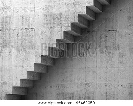 Gray Concrete Stairway On The Wall, 3D Interior