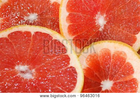 Grapefruits Red Cut By Pieces