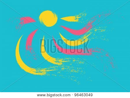 Sun and rays in summertime colours