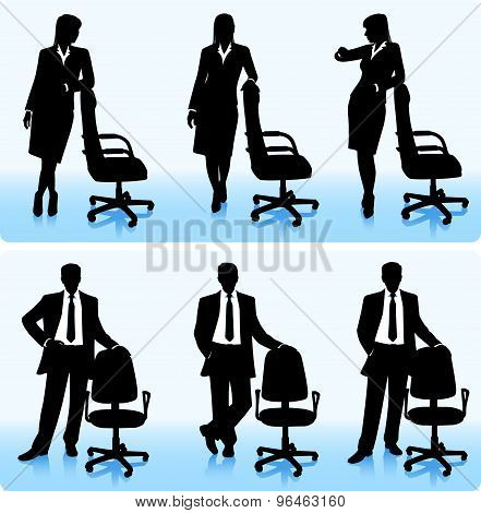 Businessmen with Chairs