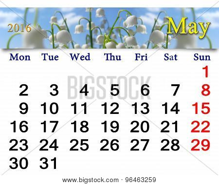 Calendar For May 2016 With Lily Of The Valley