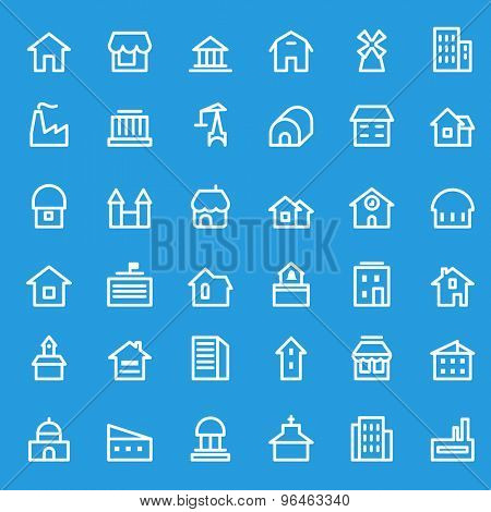 Houses, buildings icons, simple and thin line design