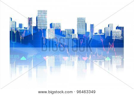 cityscape against stocks and shares
