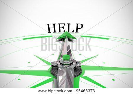 The word help against compass arrow