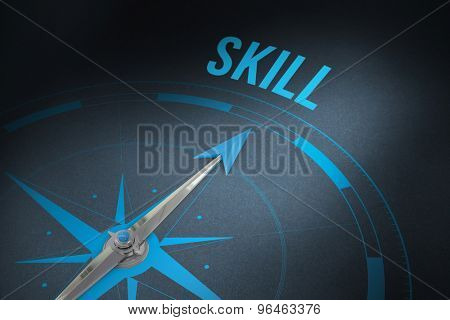 The word skill and compass against grey