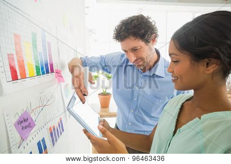 Young business team analyzing charts together