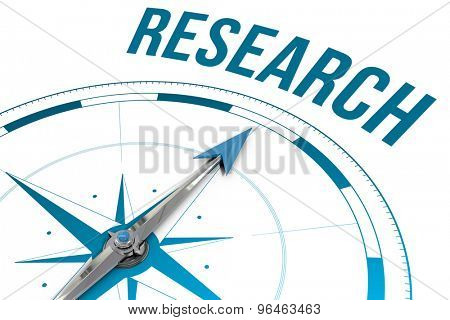 The word research against compass