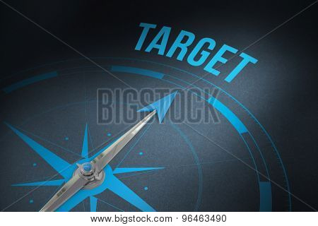 The word target and compass against grey
