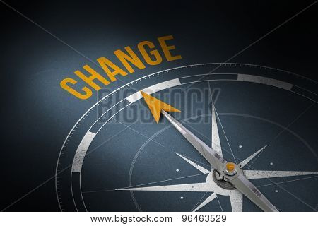 The word change and compass against grey