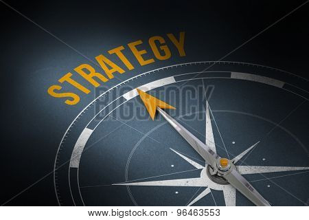The word strategy and compass against grey
