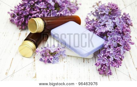 Natural Soap And Lilac Flowers