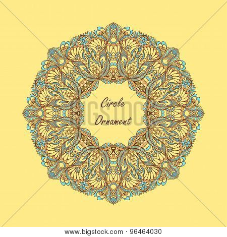 Circle ornament from doodle flowers on beige background