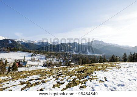 Tatra Mountains Seen Far From City Of Zakopane