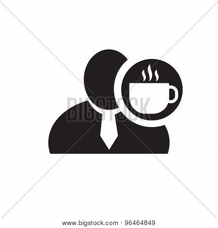 Black Man Silhouette Icon With Coffee Symbol In An Information Circle, Flat Design Icon For Forums O