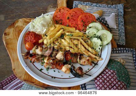 Chicken and pork kebab