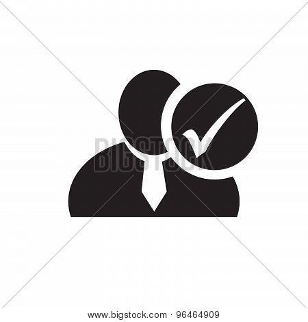 Black Man Silhouette Icon With Check Mark In An Information Circle, Flat Design Icon For Forums Or W