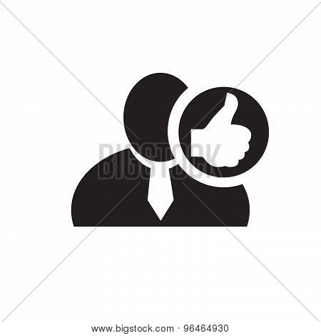 Black Man Silhouette Icon With Thumb Up Symbol In An Information Circle, Flat Design Icon For Forums