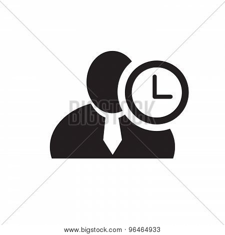 Black Man Silhouette Icon With Clock Symbol In An Information Circle, Flat Design Icon For Forums Or