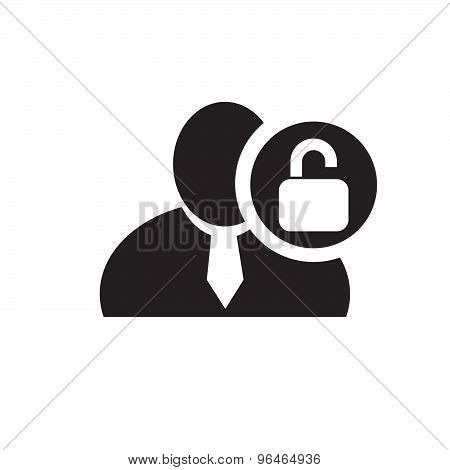 Black Man Silhouette Icon With Unlock Symbol In An Information Circle, Flat Design Icon For Forums O