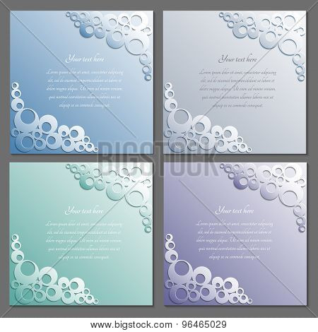 Card Templates Set With Label. Paper Frame. Rings Pattern With Shadow.