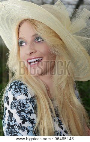 Close up Pretty Blond Woman Wearing Straw Hat