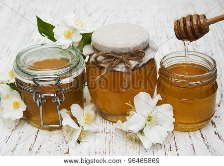 Honey With Jasmine Flowers