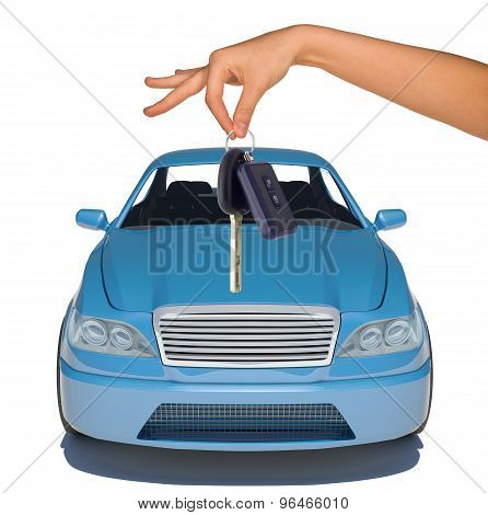 Humans hand with keys and blue car