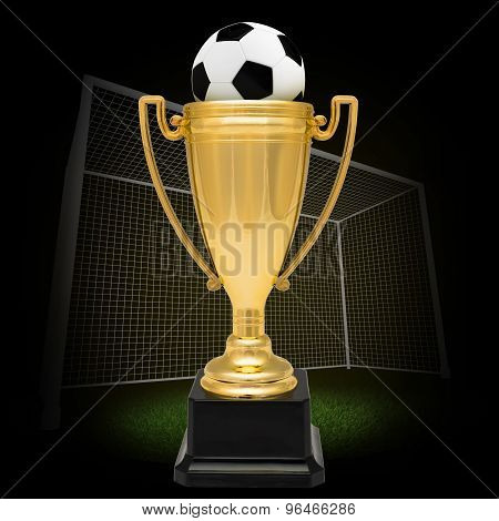 Winner cup with football