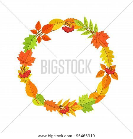Autumn garland of bright fall leaves.