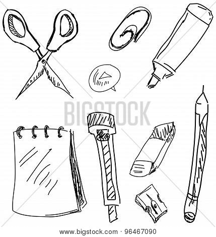 Drawn stationery on white. Vector illustration