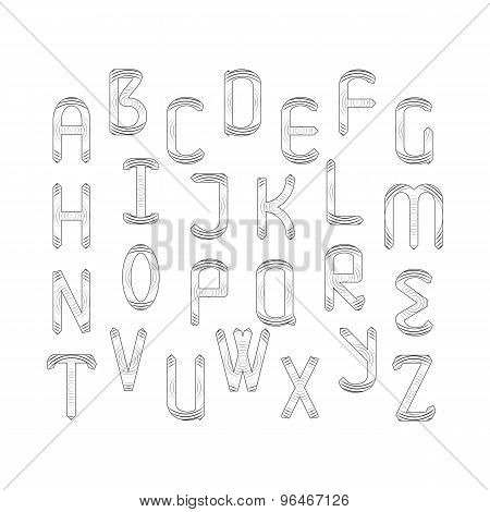 Vector English Alphabet Set.