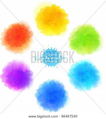 Vector watercolor imitation, rainbow paint stains set
