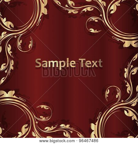 Vintage Golden Frame With Shadow On A Dark Red Background And Empty Space For Text. Vector Illustrat