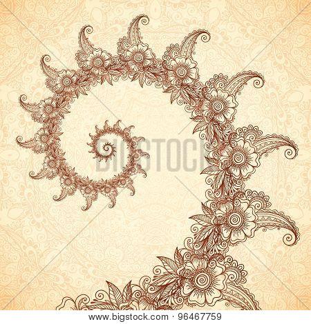 Vector fractal spiral in henna tattoo style