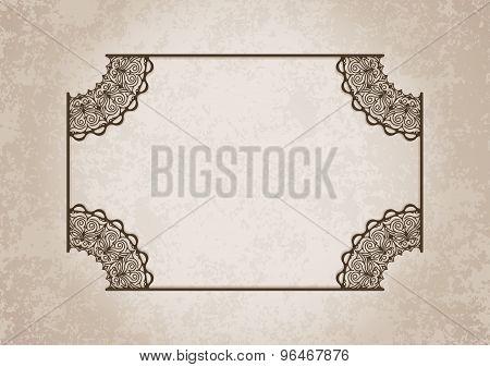 Retro Vintage Greeting Card Or Invitation. Vintage, Decorative Elements On Aged, Grunge Background P