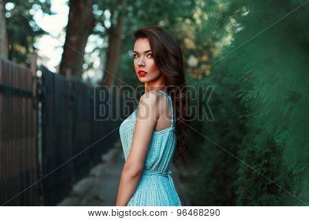 Portrait Of A Beautiful Girl In A Blue Dress On A Walk
