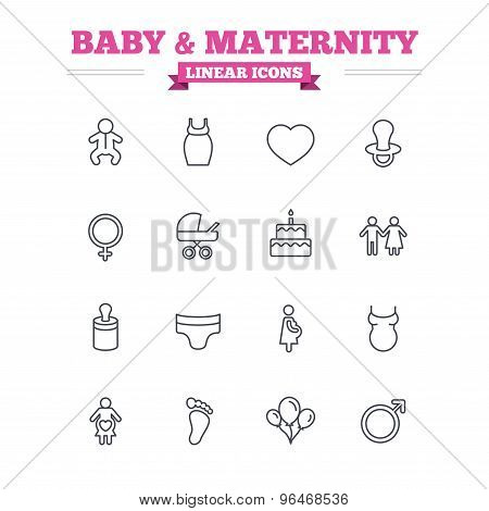 Baby and Maternity linear icons set. Thin outline signs. Vector