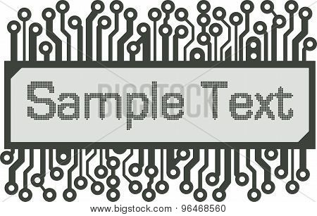 Abstract Vector Design In The Style Of The Pcb Or Lcd-indicator With Space For Text