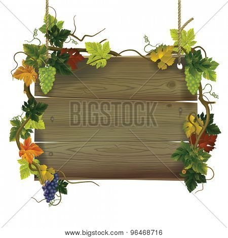 Vintage wooden signboard with grapes. Contain the Clipping Path
