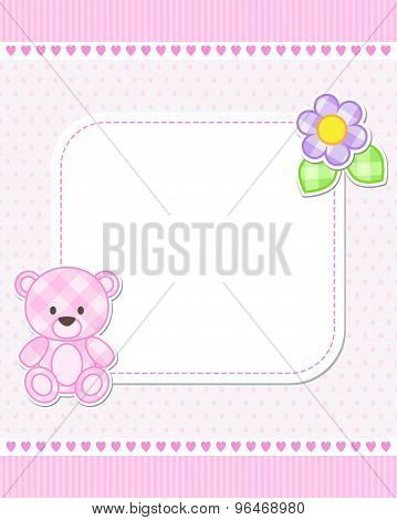 Pink teddy bear card
