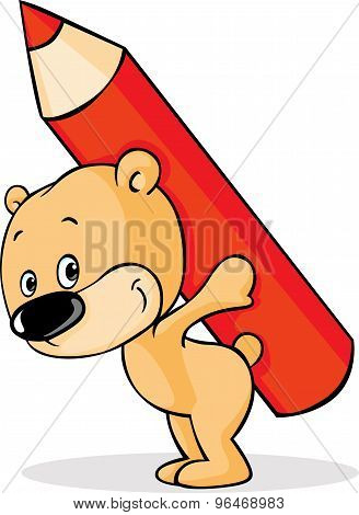 Teddy Bears  Carry Pencil On The Back - Vector Illustration