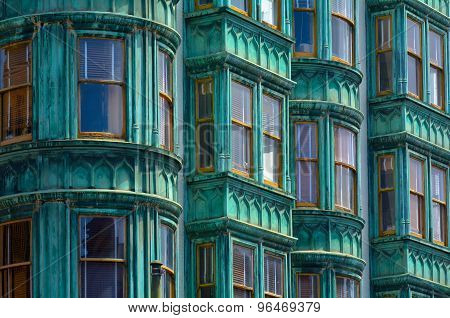 Old Green Building Faced In San Francisco -
