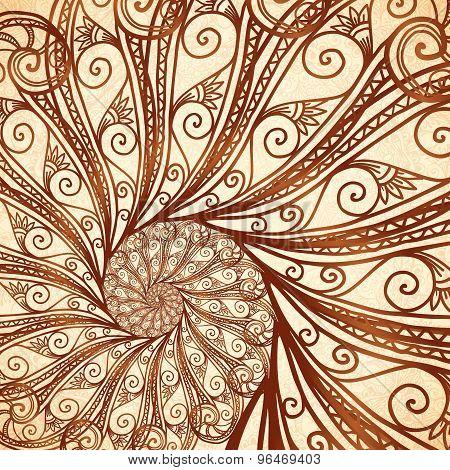 Vector spiral background in henna tattoo style