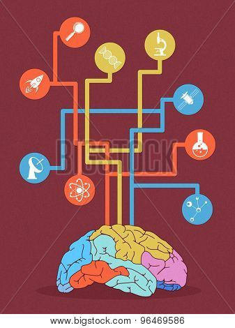 Colorful illustration a human brain with different symbols for Science on grungy background.